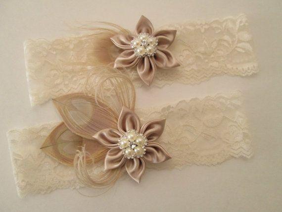 Rustic Garter Belt Nude Flower Garter Ivory Wedding Garter Set Rustic Wedding Garter Set Rustic Wedding Garter