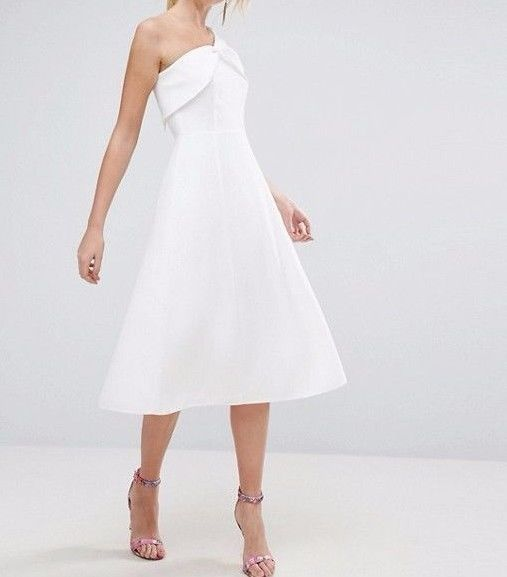 White one shoulder dresses uk brands