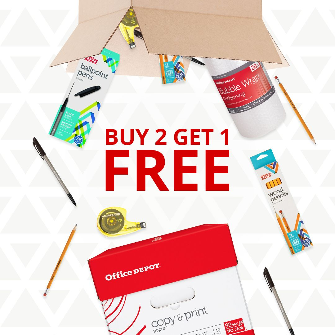 Our BUY 2 GET 1 FREE deal is dropping now on Office Depot
