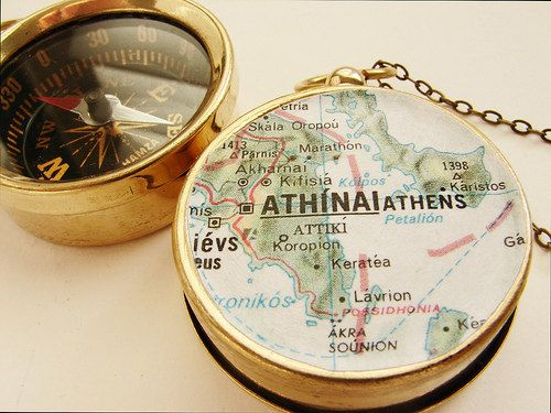 Personalized Map Compass Necklace personalized Europe map Athens