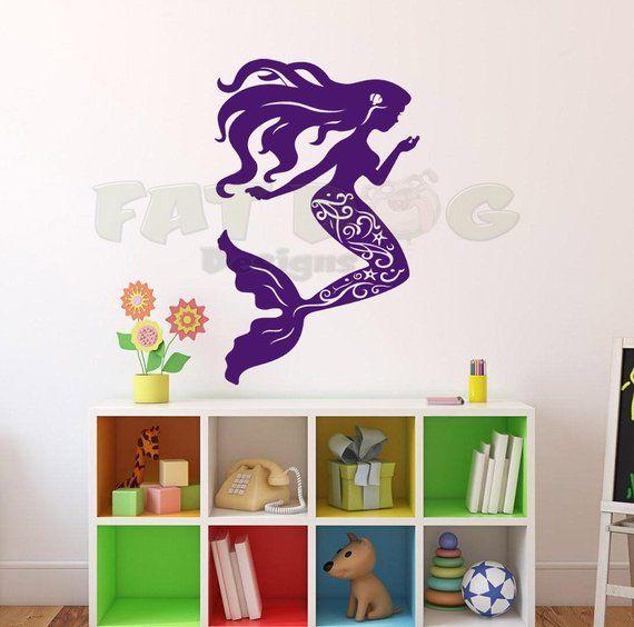 fancy mermaid removable vinyl decal, bathroom decoration, kids room