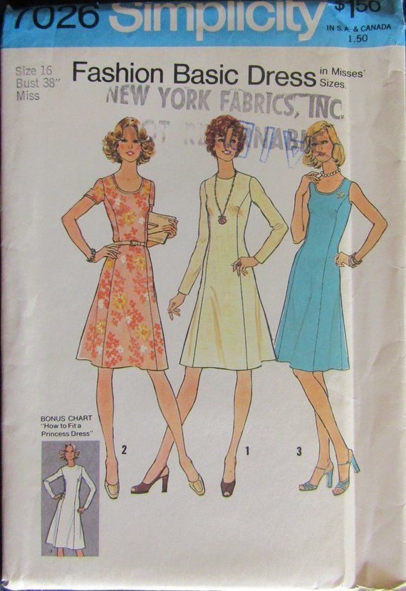 Simplicity 7026 1970s Misses Princess Dress Sewing Pattern Size 16 Uncut In 2019 Sewing Patterns Vintage Sewing Patterns Vintage Dress Patterns
