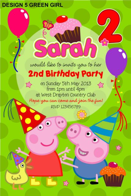 10 X Peppa Pig Personalised Party Invitations Personalised Party