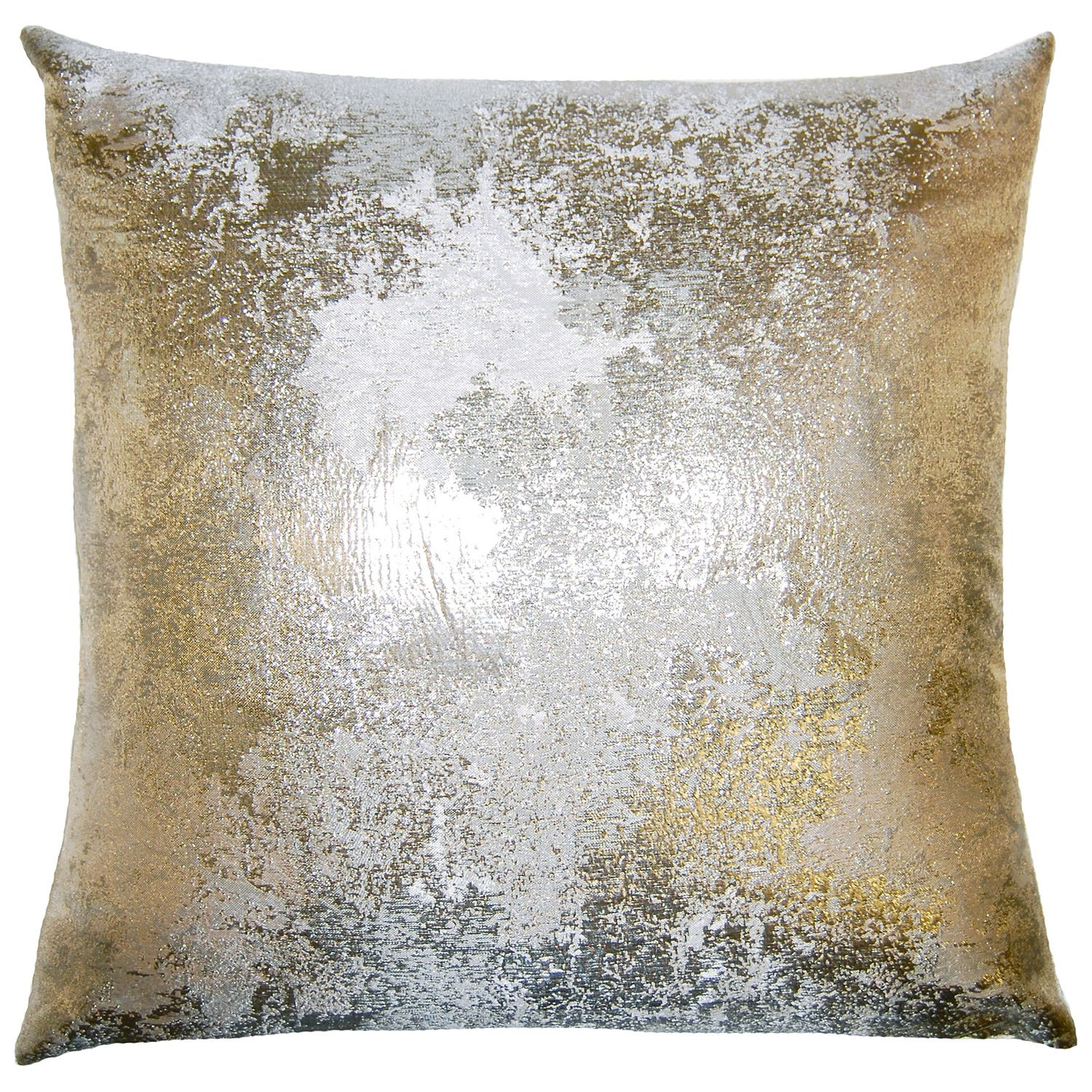 brillante antiqued throw pillow silk and polyester metallic gold  - antiqued metallic pillow  contemporary  pillows  by square feathers
