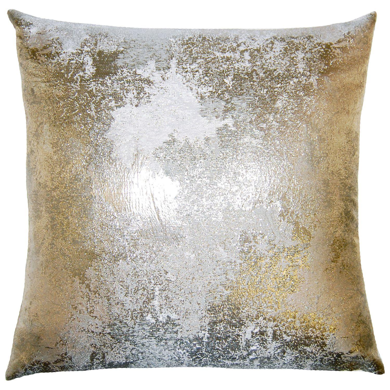 brillante antiqued throw pillow. silk and polyester. metallic gold