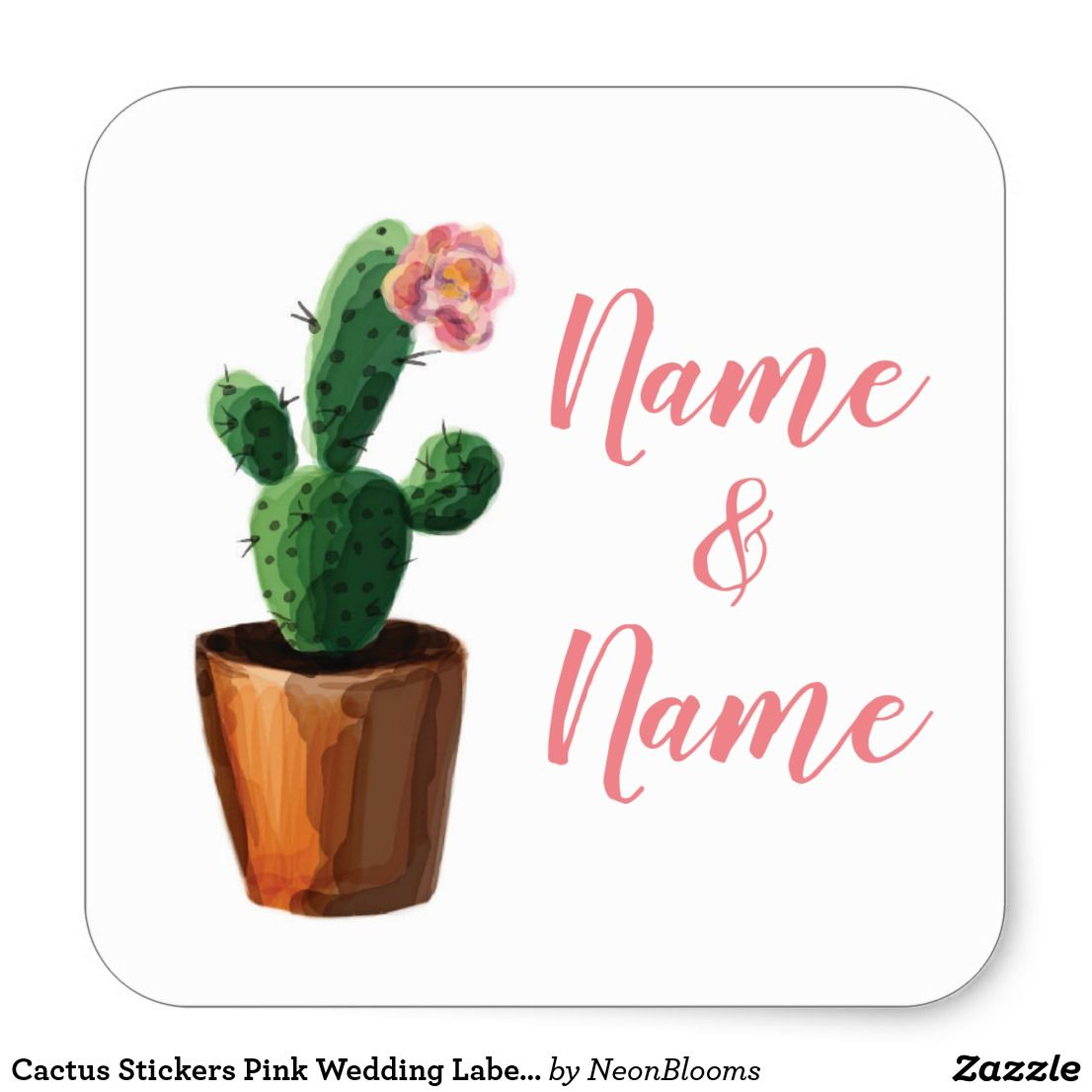 Cactus Stickers Pink Wedding Labels Cacti Pretty | Pinterest ...