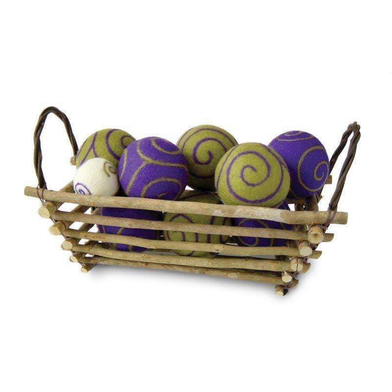 Boho twig basket indoor bocce ball set bocce ball court