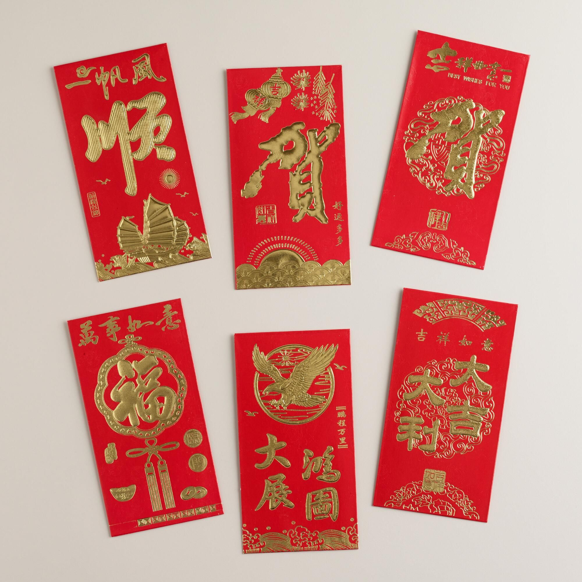 Crafted Of Bright Red Paper With Embossed Golden Chinese