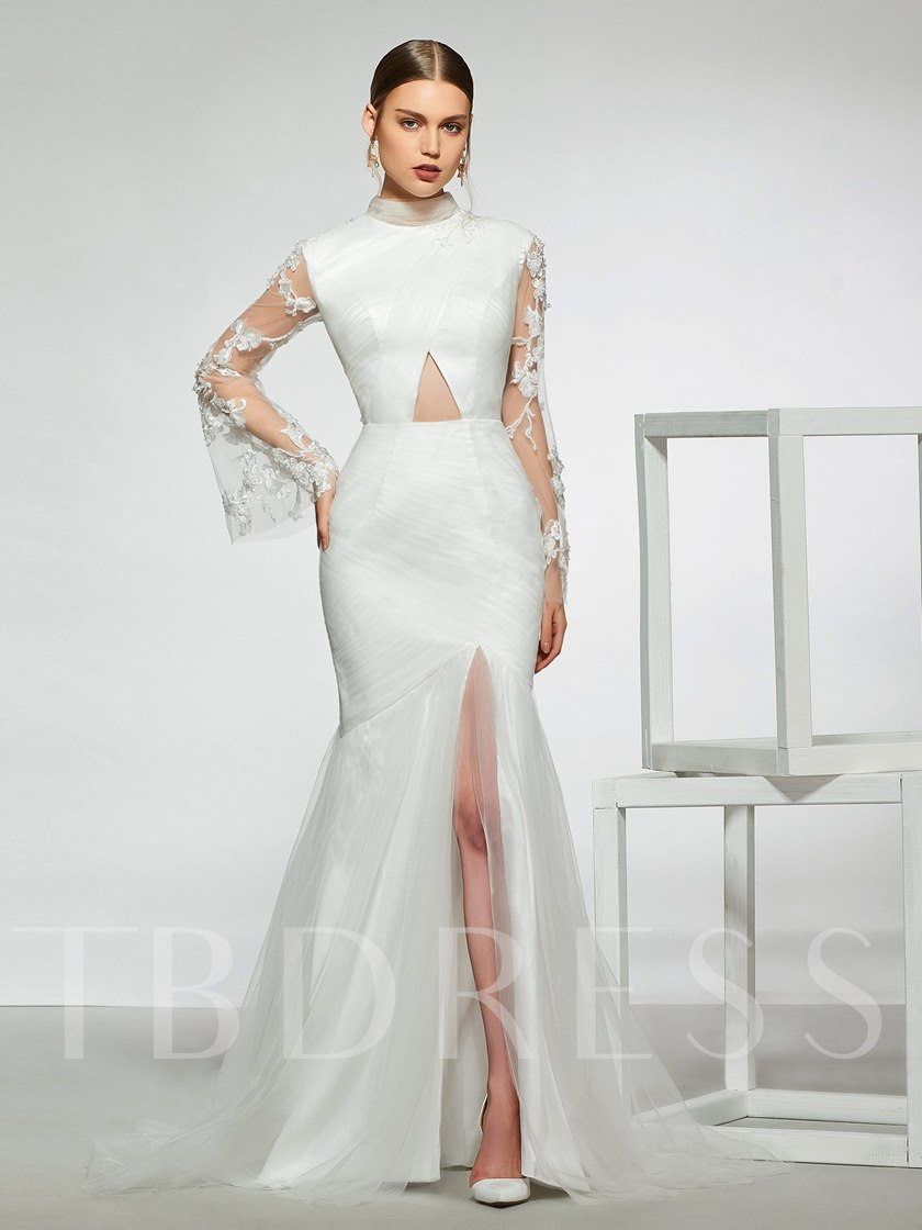 High Neck Long Sleeves Lace Mermaid Wedding Dress 2019