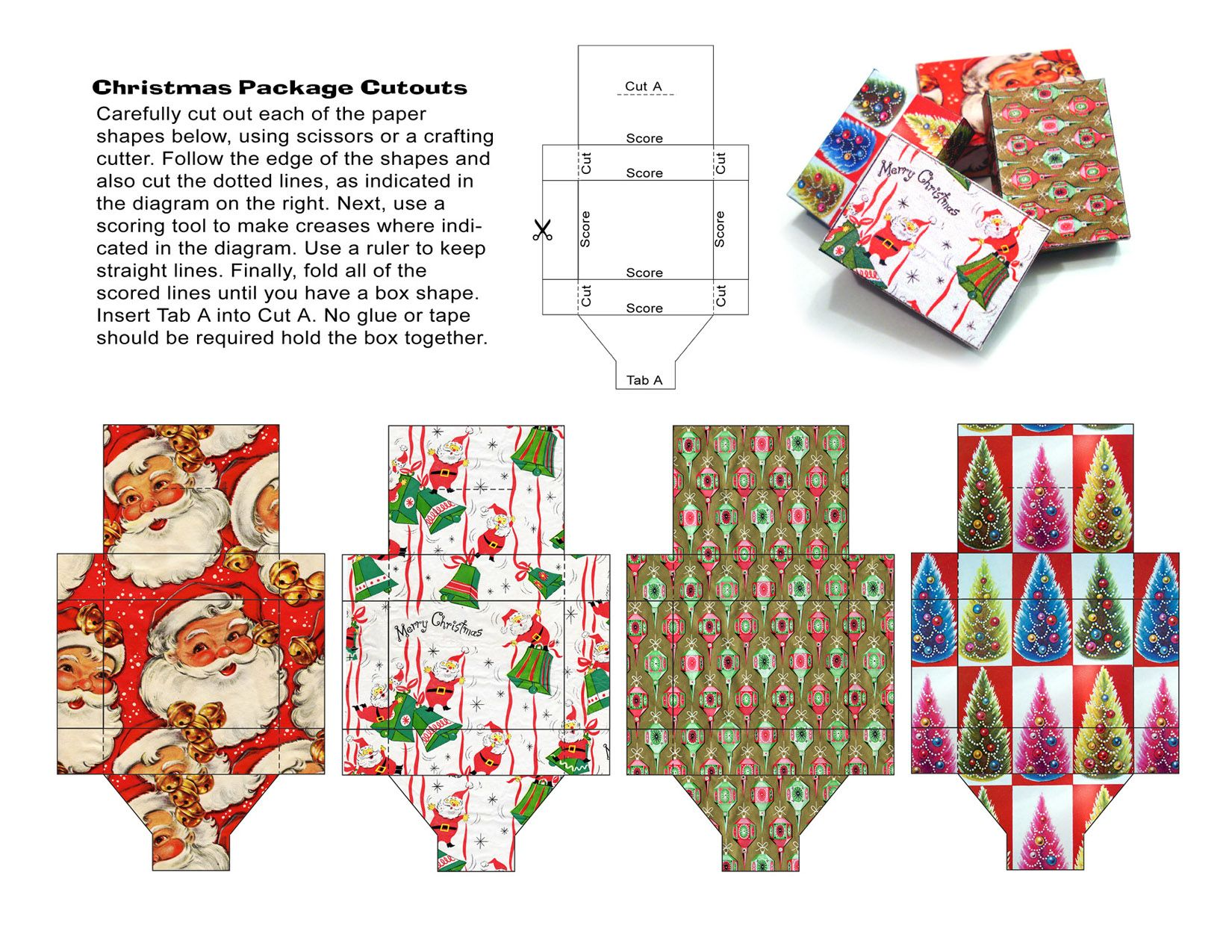 Miniature Christmas themed gift boxes to print out | Source ...