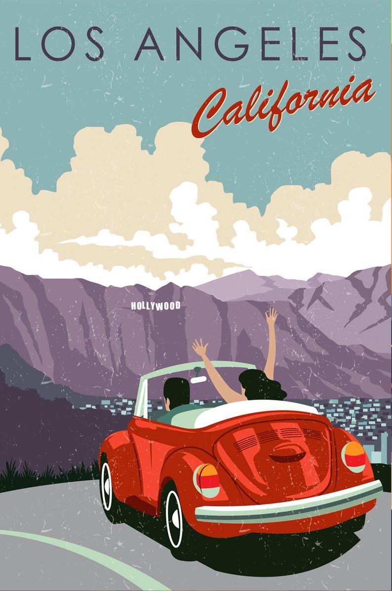 Travel Poster, Los Angeles, Vintage Travel, Los Angeles Travel, Los Angeles Art, Travel Art, Poster,