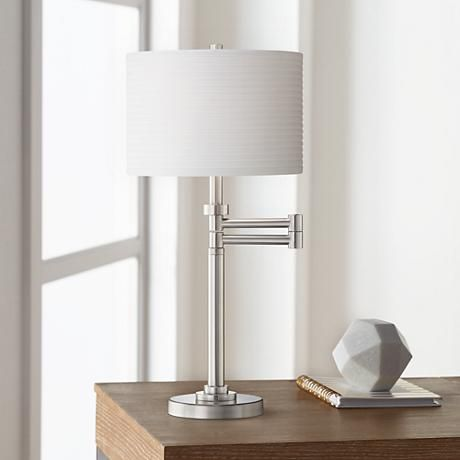 Neat Pleat Brushed Nickel Swing Arm Desk Lamp 28140 Lamps Plus Desk Lamp Industrial Style Desk Lamp Table Lamps For Bedroom