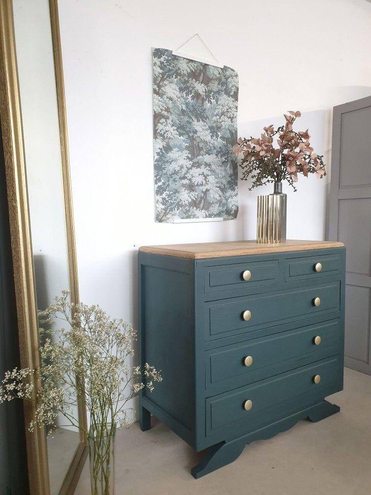 Commode Vintage Vert Anglais En Chene En 2020 Deco Maison Interieur Mobilier De Salon Deco Maison