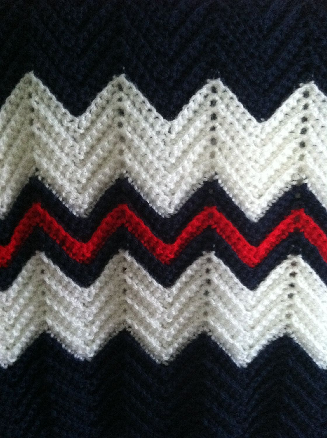 Crochet Ripple Afghan In Navy Blue White And Red 60 00