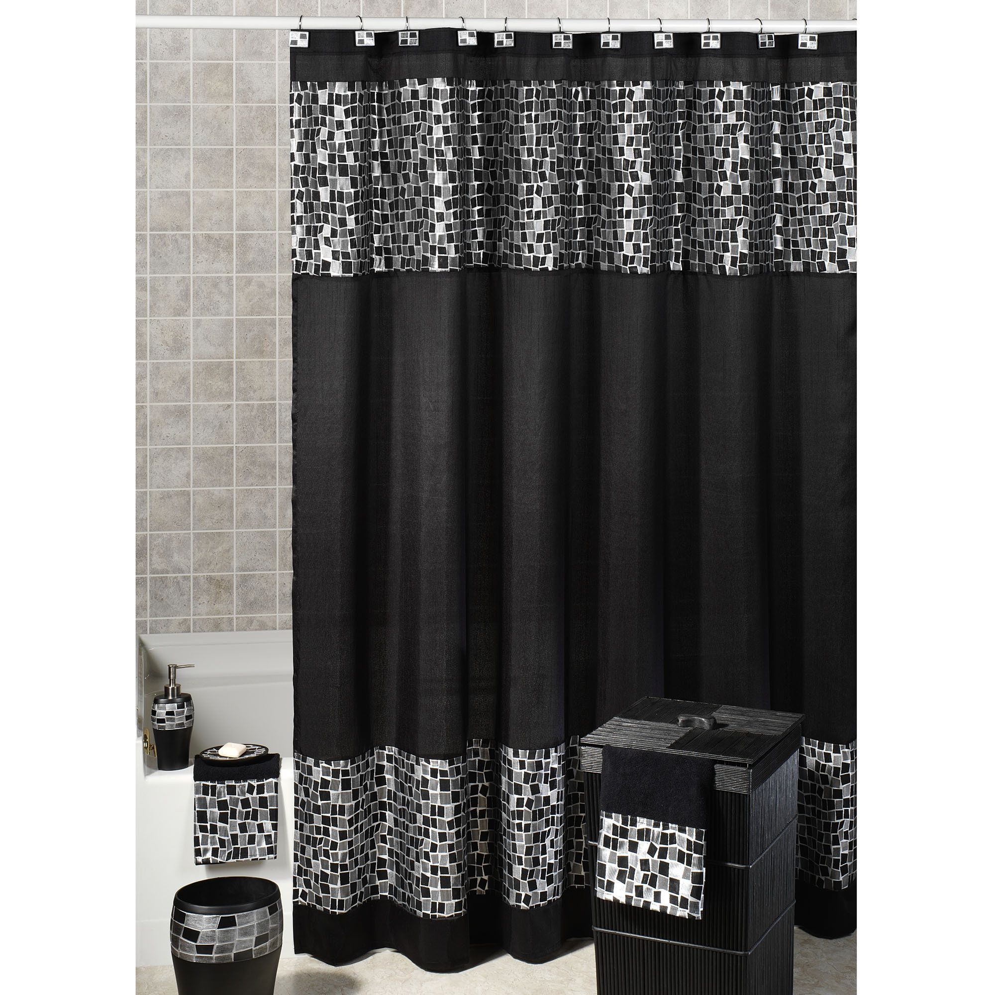 Decor Tips Grey Zigzag Pattern Shower Curtain With White Top