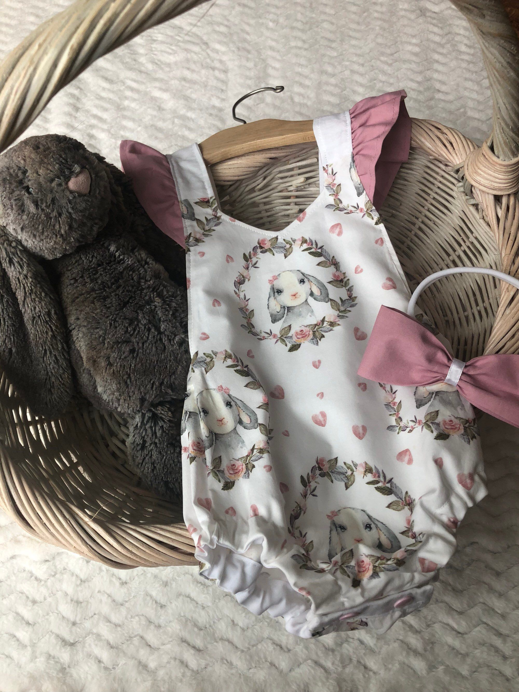 37f68429c Excited to share this item from my #etsy shop: Bunny Romper | Dusty Rose  Pink Ruffles | Easter Outfit | Toddler Easter Spring Outfit | Baby Bunny  Bow | Baby ...