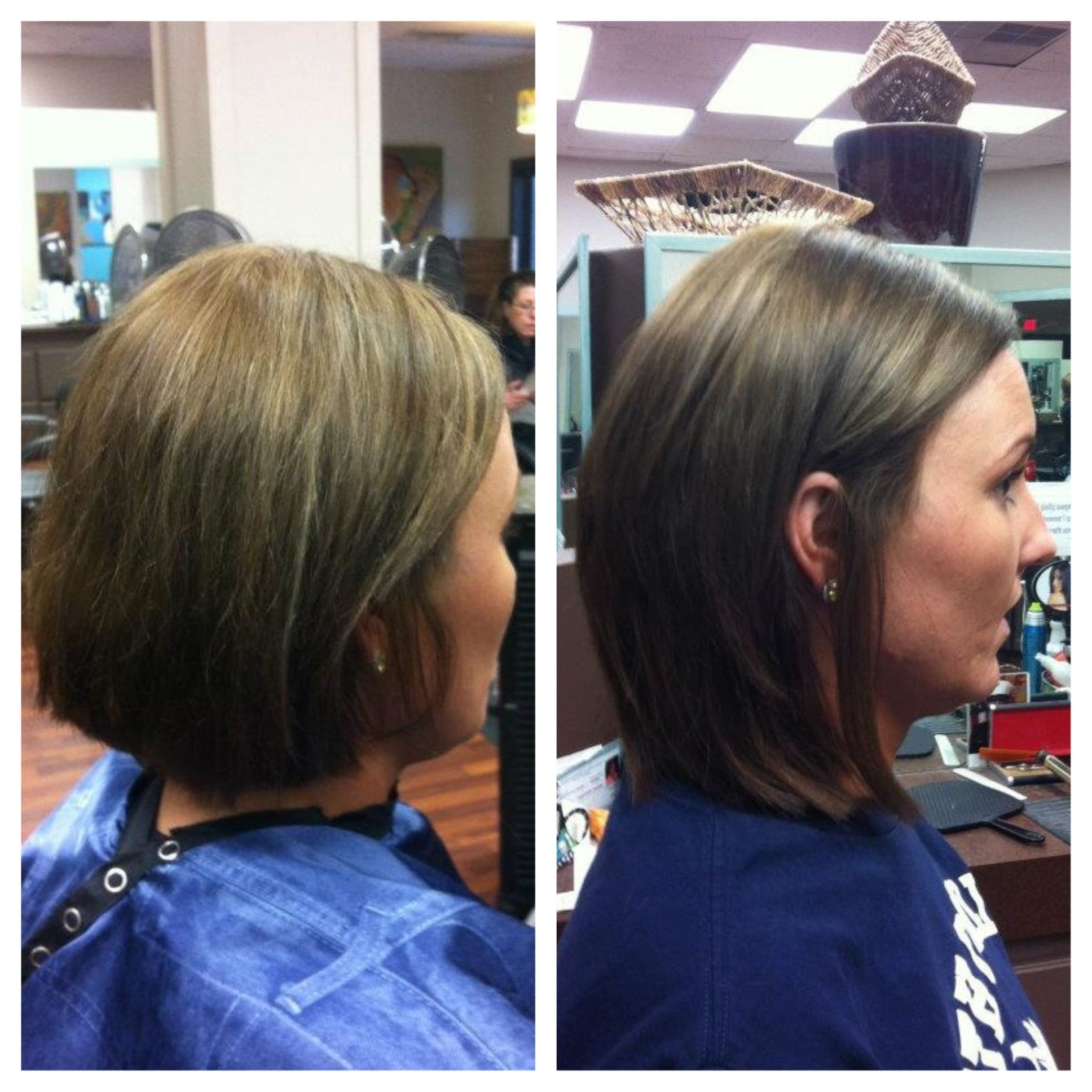 before and after extensions short bob to shoulder length bob