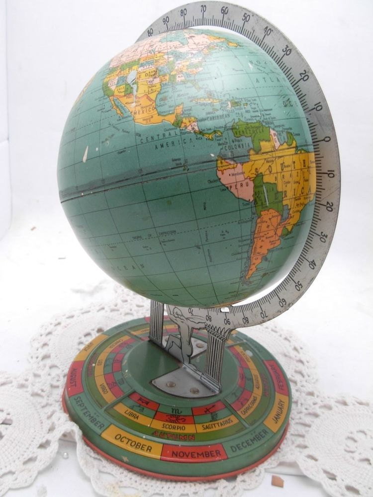 For sale on ebay nov 30 14 this is a rare tin toy globe produced for sale on ebay nov 30 14 this is a rare tin toy globe produced by ohio art company in 1938 the piece is 8 inches in diameter and approximately 11 gumiabroncs Gallery