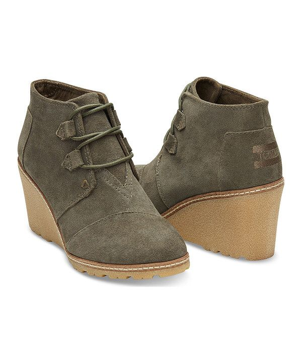 Look at this Olive Suede Crepe Desert Wedge Bootie - Women on #zulily today!