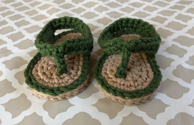 Crochet Cotton Baby Flip Flops Sandals size 0-3 months ...