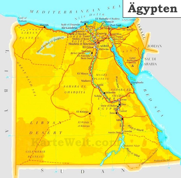 Ägypten Straßenkarte | karteplan.com | Pinterest | Kita