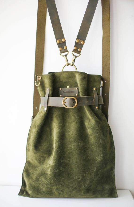 Green Leather Bag, Suede Backpack, Vintage Backpack, Convertible Backpack #bag