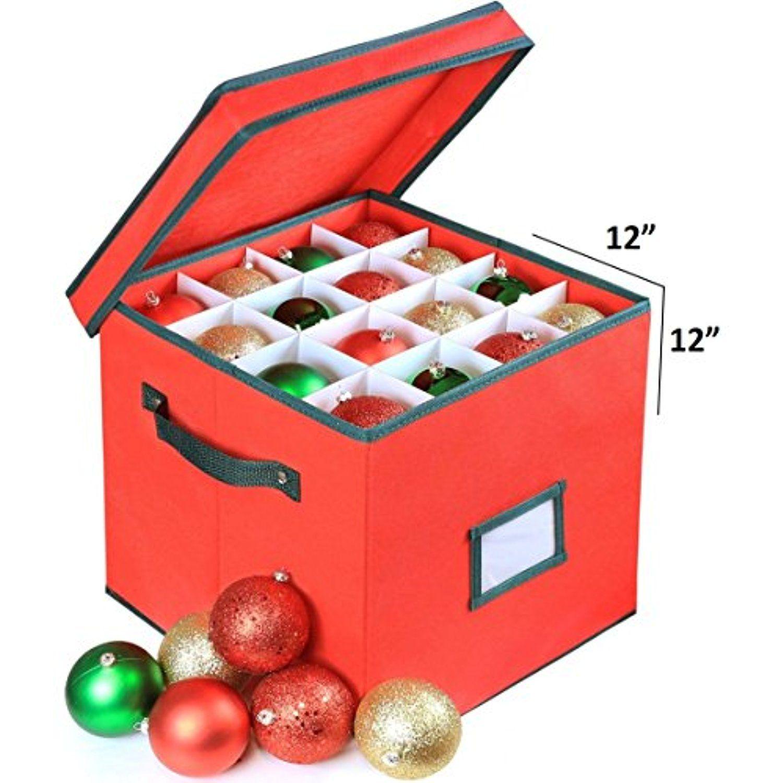 Premium Heavy Duty Ornament Fabric Storage Box With Deviders, 4