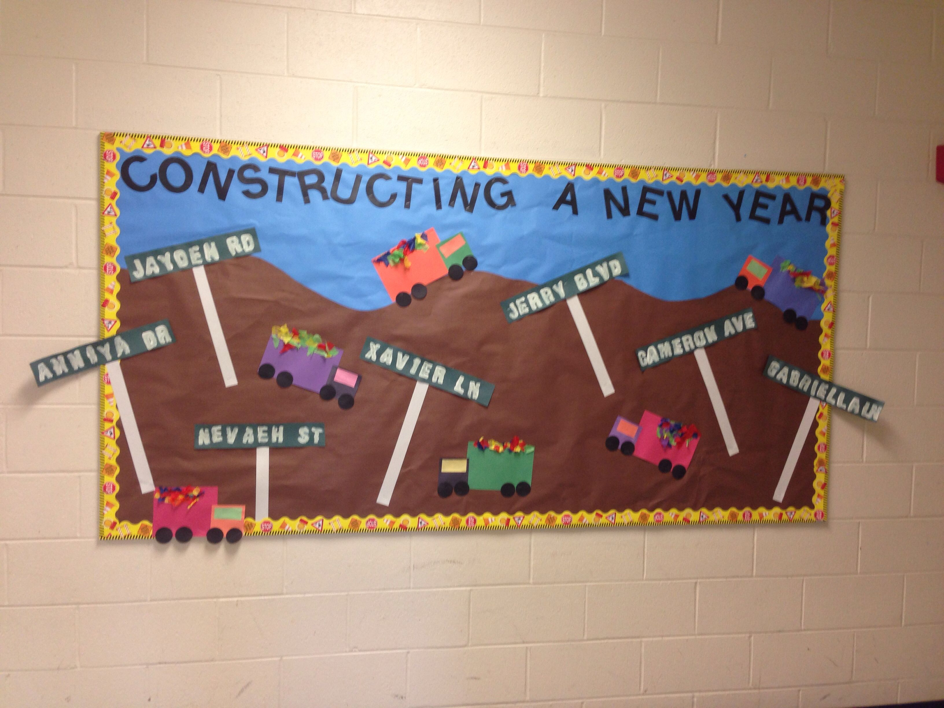 Construction Themed Bulletin Board Year Students Used Shapes Make Dump Truck