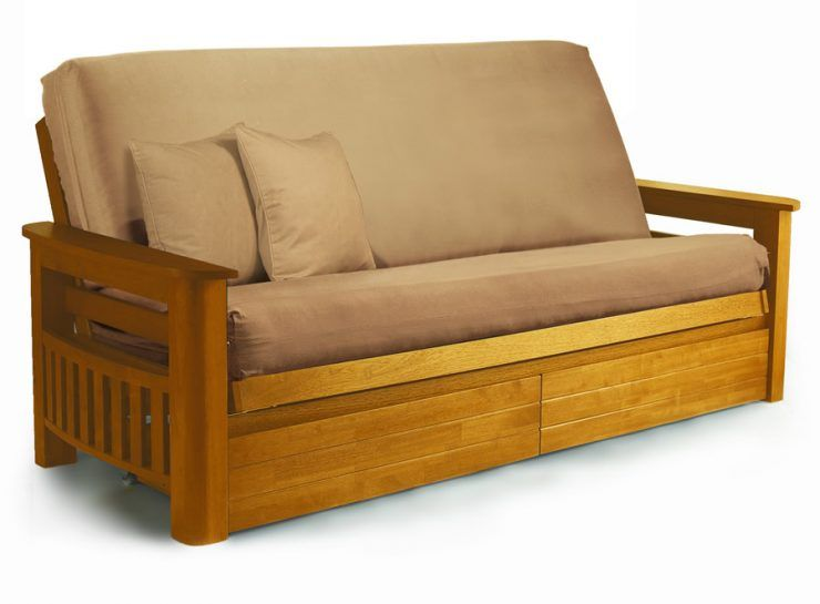 Wooden Futon Beds Frames With Brown Cushions