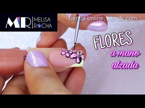 Uñas con diseño en Mano Alzada pintura acrílica - YouTube ...