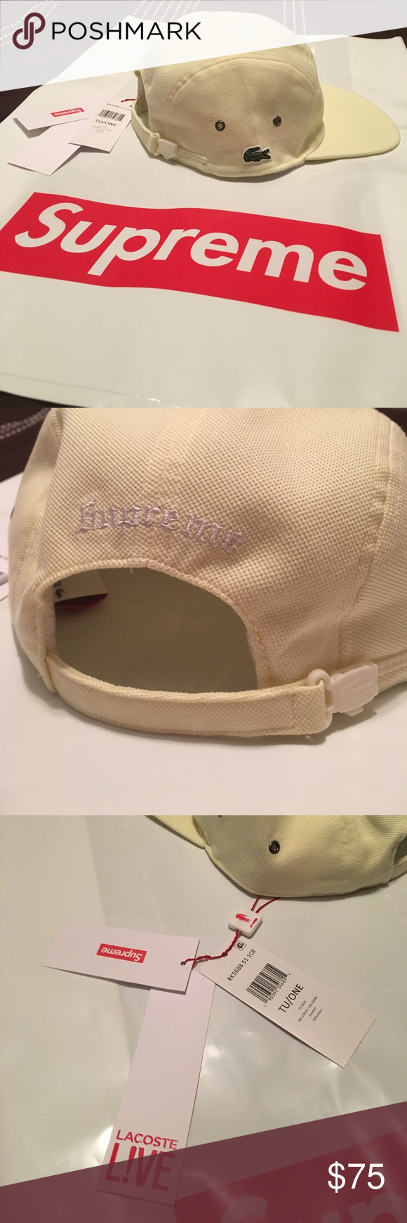 Supreme x Lacoste Cap Light Yellow with tags Supreme + Lacoste SS17  collaboration c9161a9080be