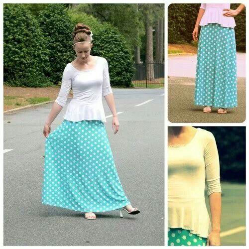 Modest Skirts: Womens long polka dot maxi skirt by Apostolic Clothing