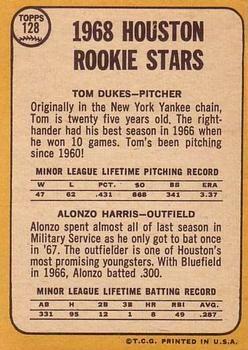 1968 Topps #128 Astros Rookies - Tom Dukes / Alonzo Harris Back