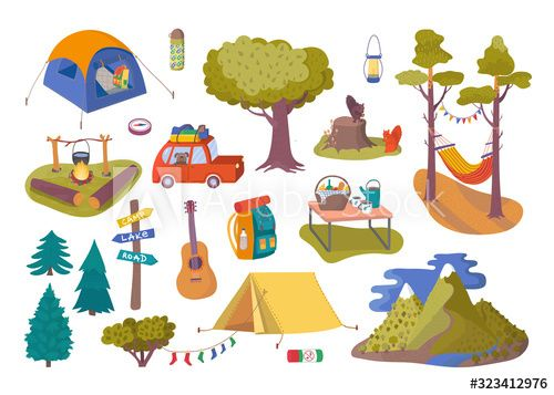 Forest picnic and camping collection set for trip vector illustration. Hiking…
