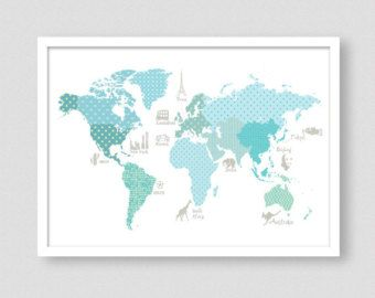 Childrens world map world map poster teal wall art wm302a boy childrens world map world map poster teal wall art wm302a boy room decor world map nursery nursery decorsize a1 a2 a3 a4 gumiabroncs Images