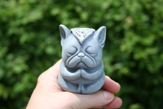 Buddha Dog Statue Mini Meditating French Bulldog Statue