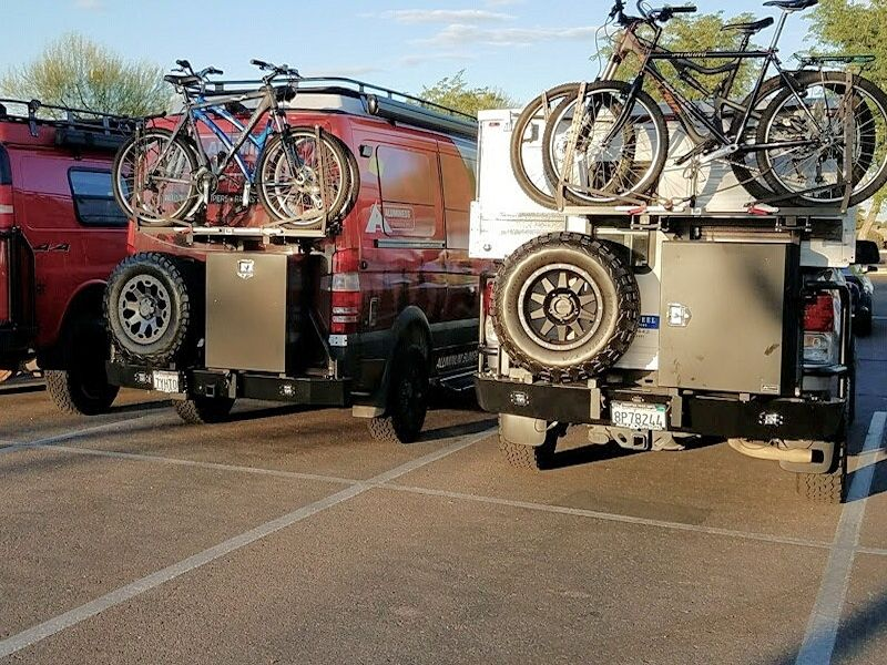 Swing Away Bike Rack On A Mercedes Sprinter Van By Sportsmobile And A Toyota Tundra With A 4 Wheel Ca Build A Bike Bike Rack Mercedes Sprinter Camper