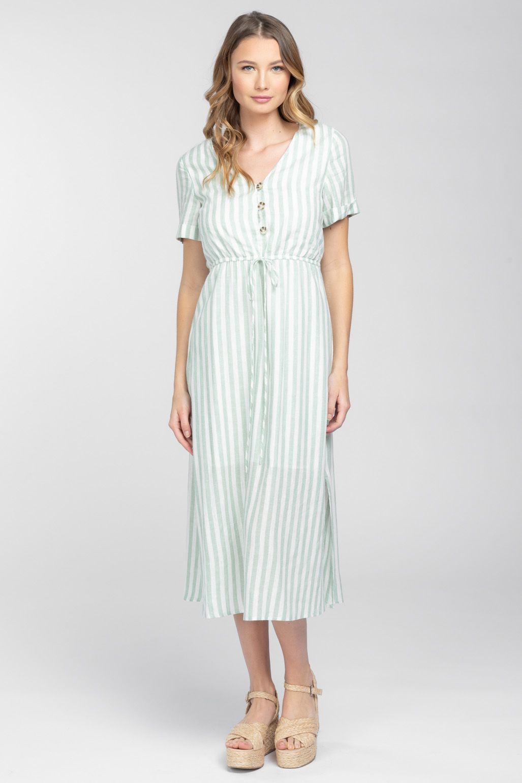 Warehouse Chevron Stripe Midi Dress Blue Stripe 1 Striped Dress Summer Striped Shirt Dress Dresses [ 1200 x 1200 Pixel ]