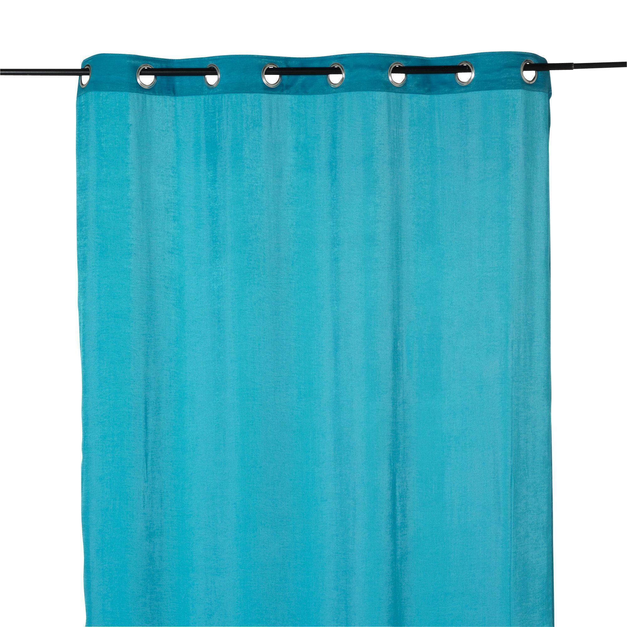 Rideau à œillets bleu effet soie 140x250cm Bleu - Elora - Les ...