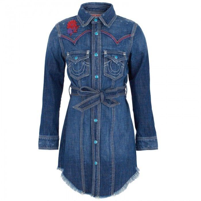 4530f1742200 True Religion Embroidered Denim Shirt Dress