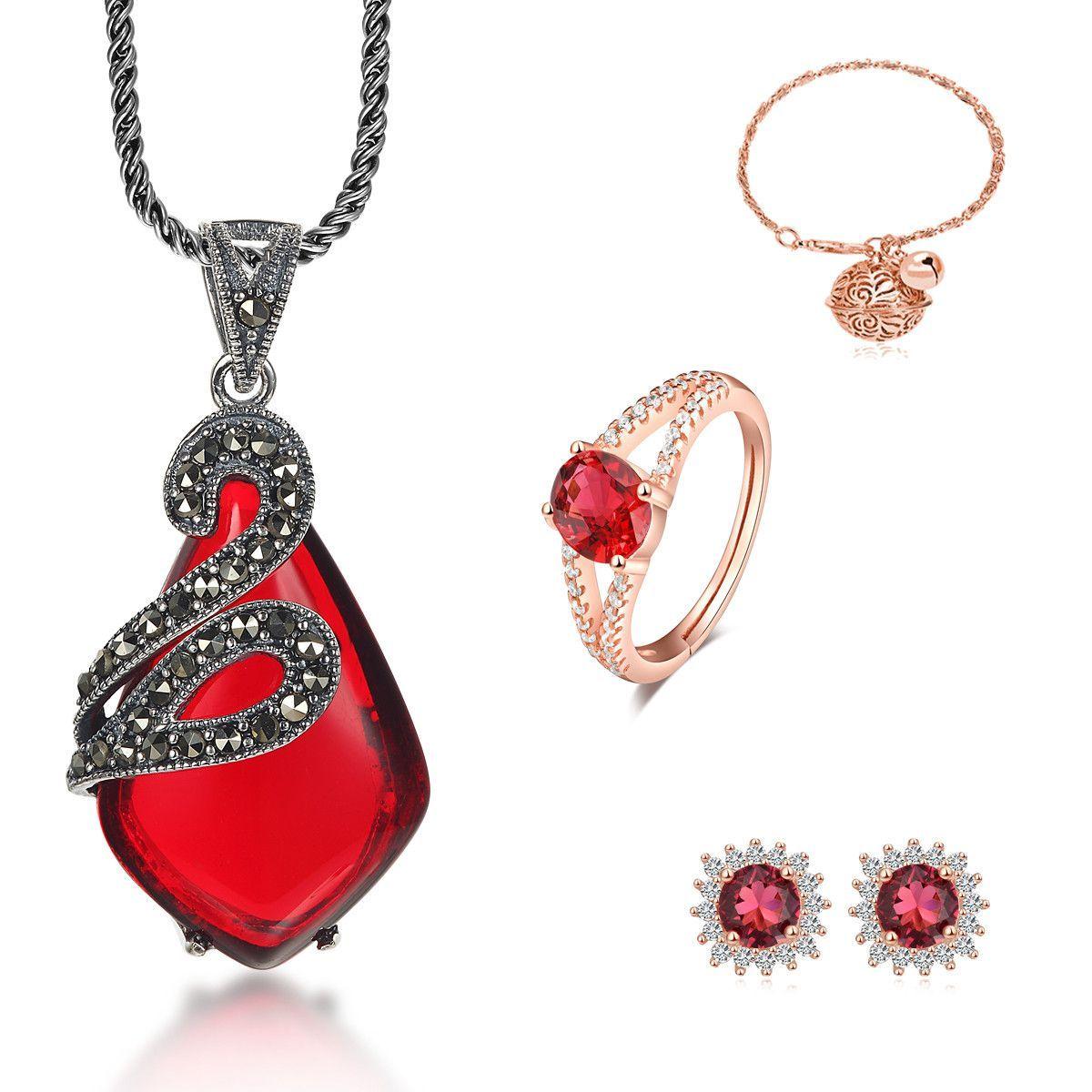 Ruby red gemstone u gold jewelry set pendant ring bracelet and