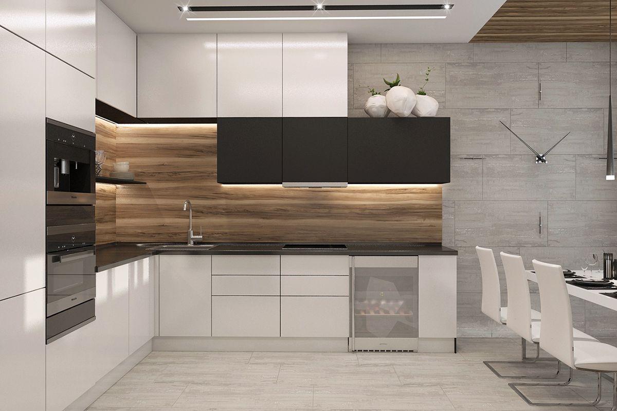 Apartament In Modern Style On Behance Modern Kitchen Cabinet Design Kitchen Layout Kitchen Cabinet Design