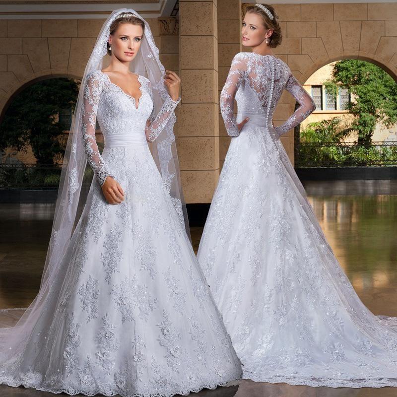 Sheer Lace Applique Long Sleeve Wedding Dress V Neck: 2015 Lace Applique A Line Wedding Dresses Sheer V Neck