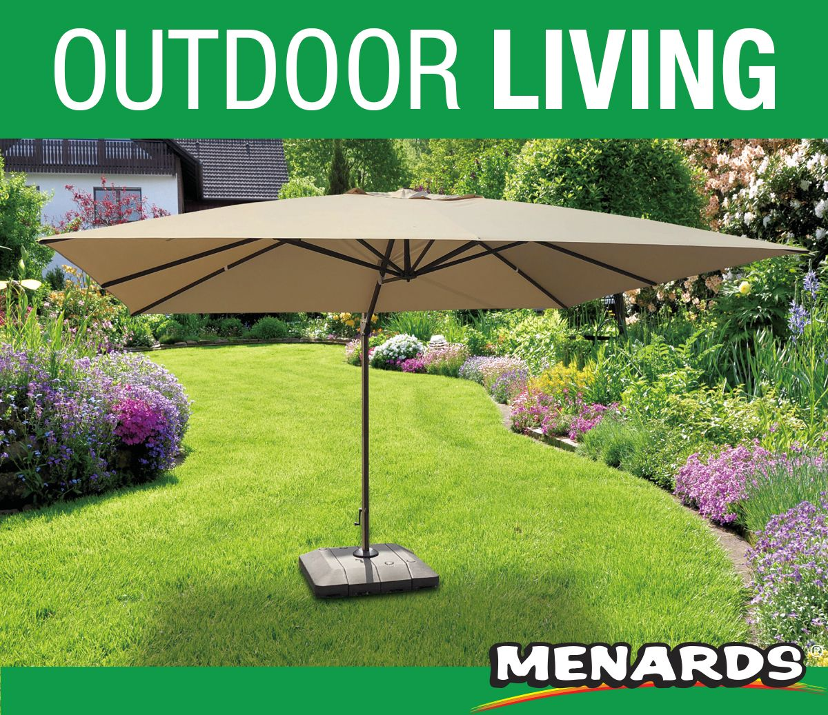 Get Outdoor Ready With A New Backyard Creations Rectangular Offset Umbrella For Your Backyard Keep The Sun O Backyard Creations Outdoor Patio Umbrella Bases