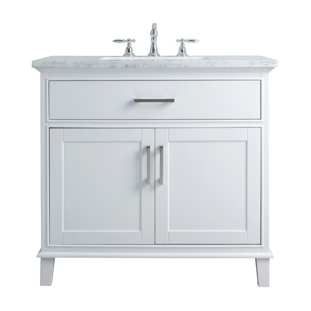 Stufurhome 36 In Leigh Single Sink Bathroom Vanity In White With Carrara Marble Vanity Top In White With White Basin Single Sink Bathroom Vanity Marble Vanity Tops 36 Inch Bathroom Vanity