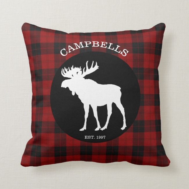 Red Black Buffalo Plaid Moose Throw Pillow Zazzle Com Plaid Moose Outdoor Pillows Throw Pillows