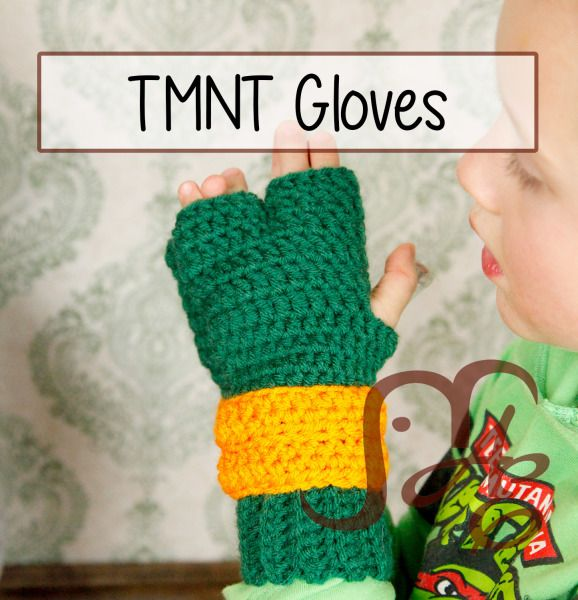 TMNT Gloves for Kids FREE CROCHET PATTERN Check out more at ...