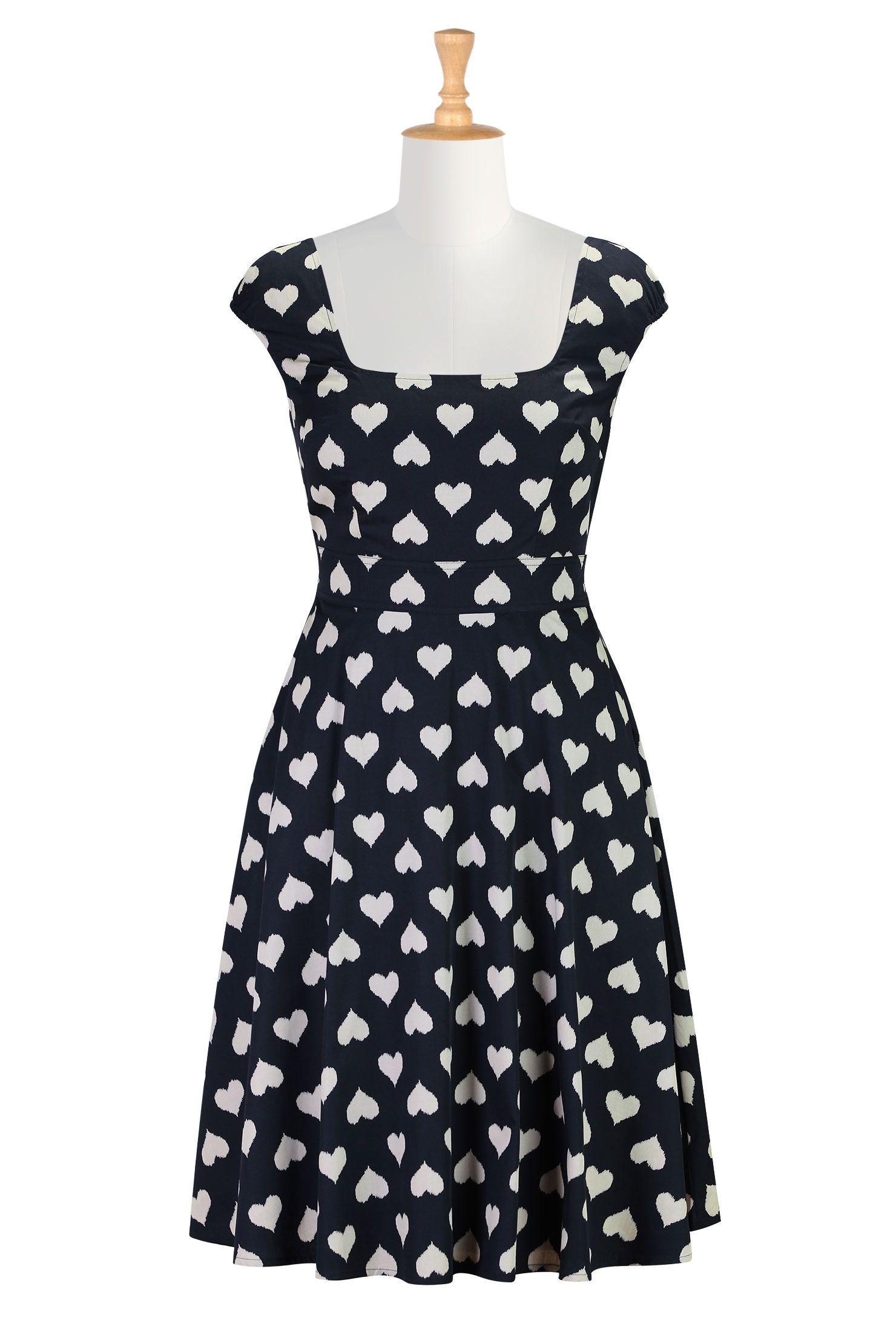 Valentine Dresses, Heart Print Cotton Dresses Shop Women's Dresses ...