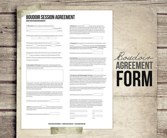 Photography Business Form - Client Agreement Form for Boudoir - business agreement form