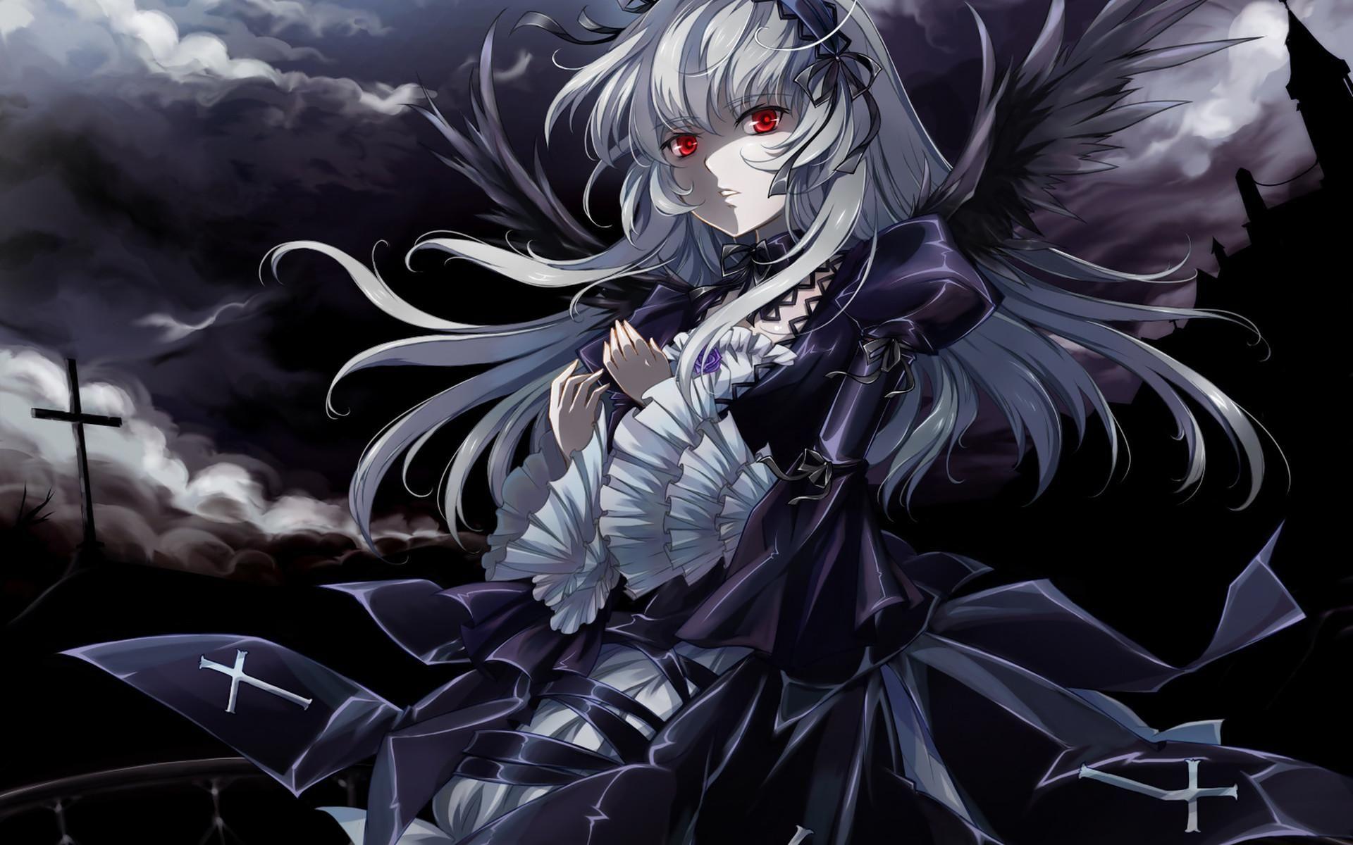 dark+anime Dark, anime, black, dark, girl, red eyes